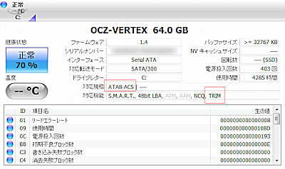 Windows7 インストール Trim Vertex X25-M